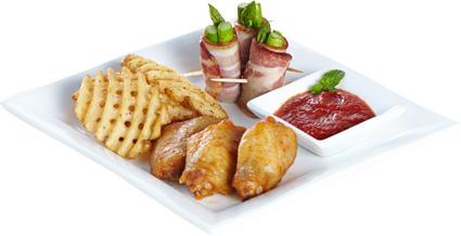 <p>BBQ鸡翅、妙脆星星薯、薯角,让您同时享有脆、酥、嫩的三种口感,黄金香脆的薯角、酥软爽口的星星薯,与鲜嫩多汁的鸡翅完美组合,一次拥有,绝对物超所值。(280g)</p>